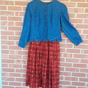 Vtg.80s Western Stonebridge dress, sz 14
